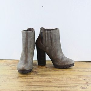 Candie's Gray Chunky Ankle Boots